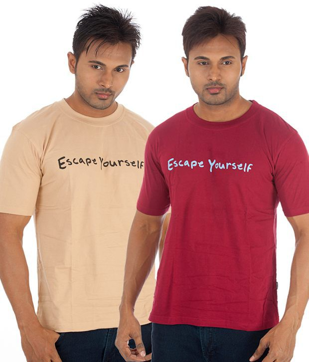 TSG Escape Multi Cotton  T-Shirt(Pack of 2)