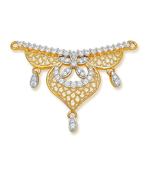 18 kt Yellow Gold with CZ Stones 3.81 Grams Tanmania Pendant By Ishtaa