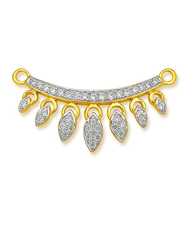 18 kt Yellow Gold with CZ Stones 3.49 Grams Tanmania Pendant By Ishtaa