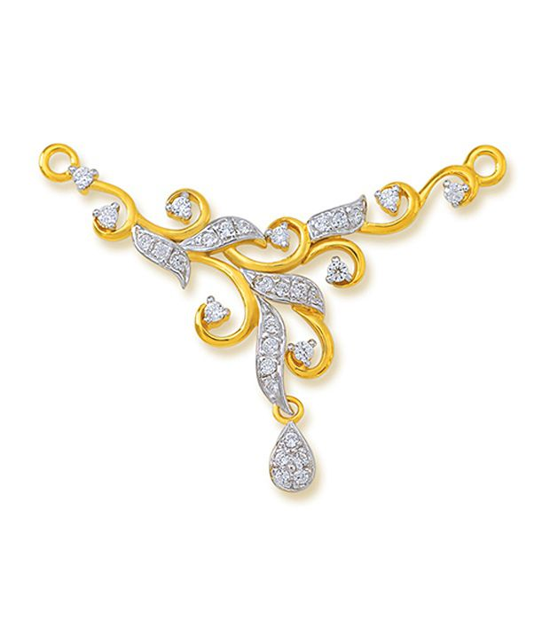 18 kt Yellow Gold with CZ Stones 3.52 Grams Tanmania Pendant By Ishtaa