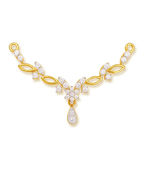 18 kt Yellow Gold with CZ Stones 2.37 Grams Tanmania Pendant By Ishtaa