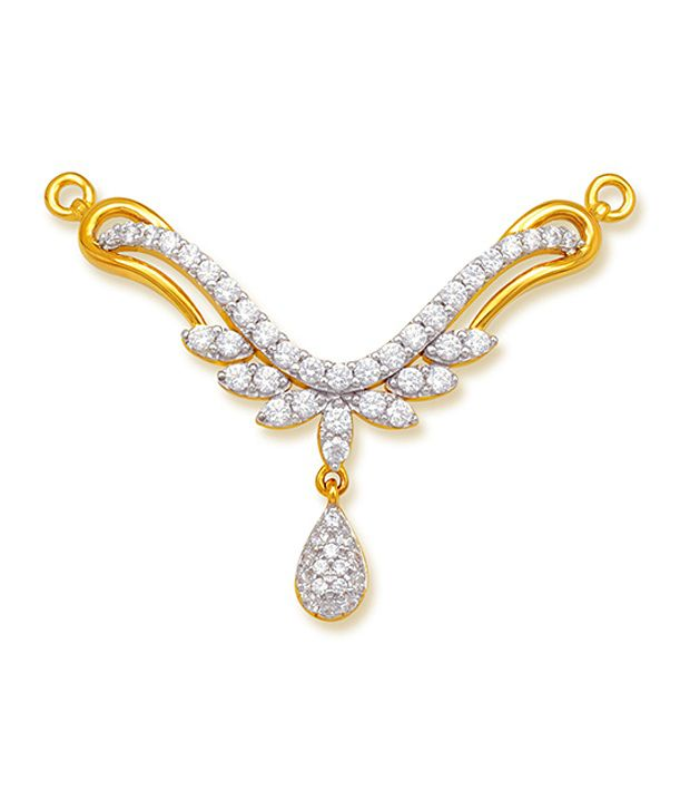 18 kt Yellow Gold with CZ Stones 4.06 Grams Tanmania Pendant By Ishtaa