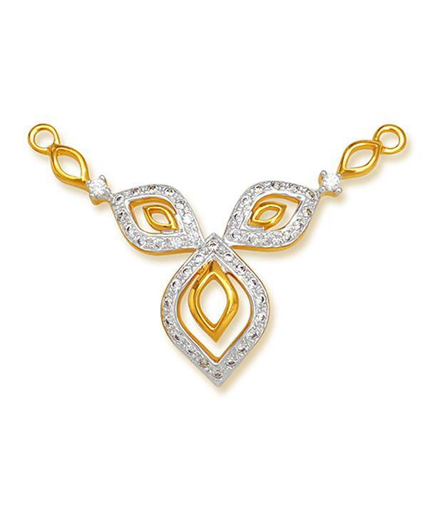 18 kt Yellow Gold with CZ Stones 4.02 Grams Tanmania Pendant By Ishtaa