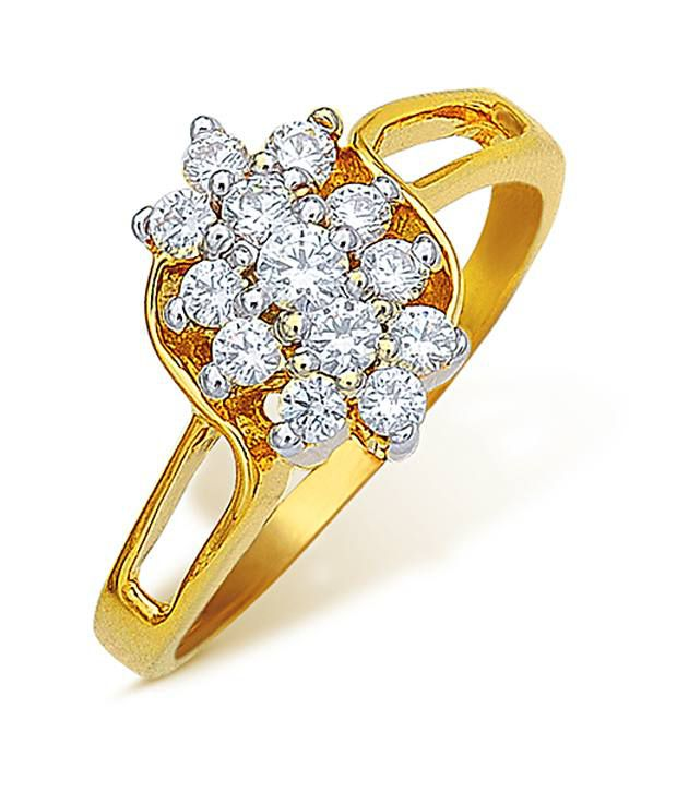 18k Hallmarked Yellow Gold with CZ Stones 3.47 Grams Rings By Ishtaa