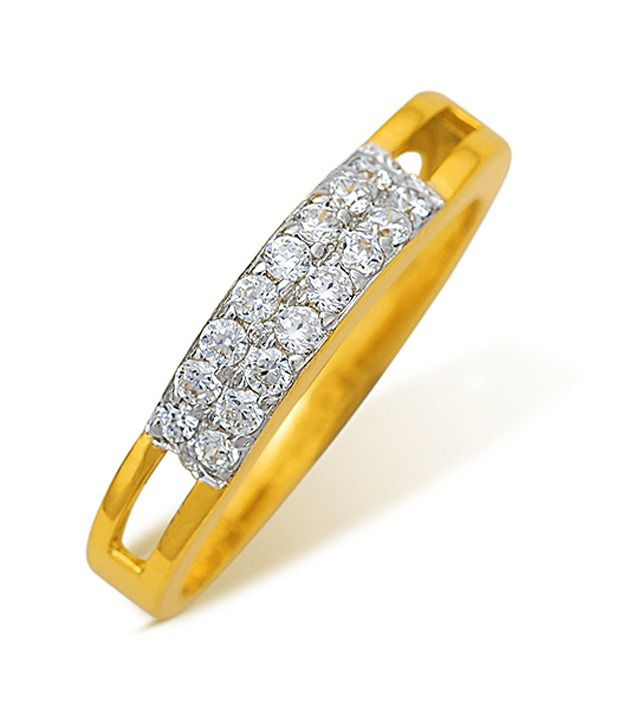 18k Hallmarked Yellow Gold with CZ Stones 2.61 Grams Rings By Ishtaa
