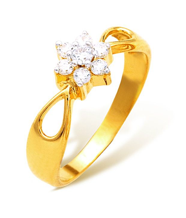 18k Hallmarked Yellow Gold with CZ Stones 2.92 Grams Rings By Ishtaa