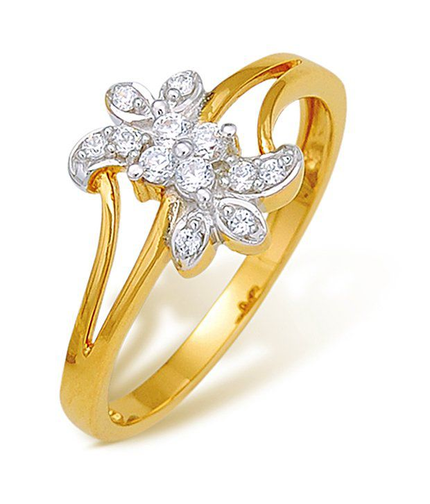 18k Hallmarked Yellow Gold with CZ Stones 2.38 Grams Rings By Ishtaa