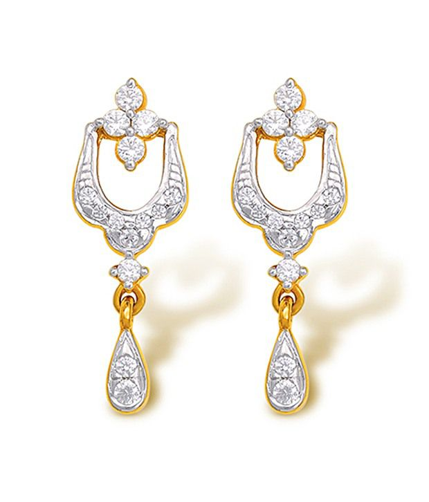 18kt Yellow Gold with CZ Stones 2.92 Grams Earrings By Ishtaa