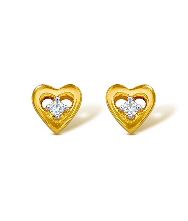 18kt Yellow Gold with CZ Stones 1.86 Grams Earrings By Ishtaa