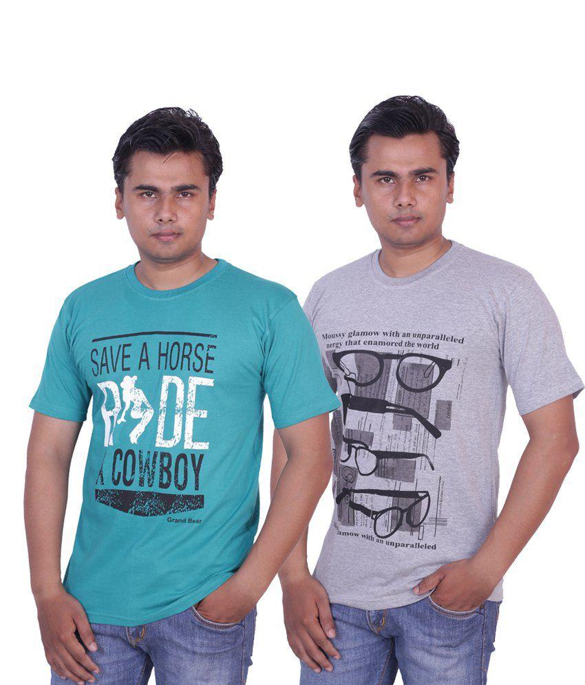 Grand Bear Pack of 2 Printed T-shirt For Men