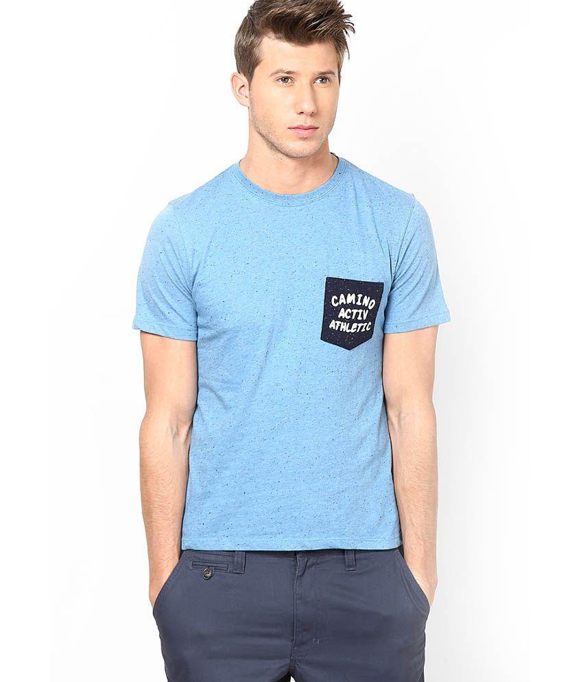 Camino Blue Crew Neck Nep T Shirts