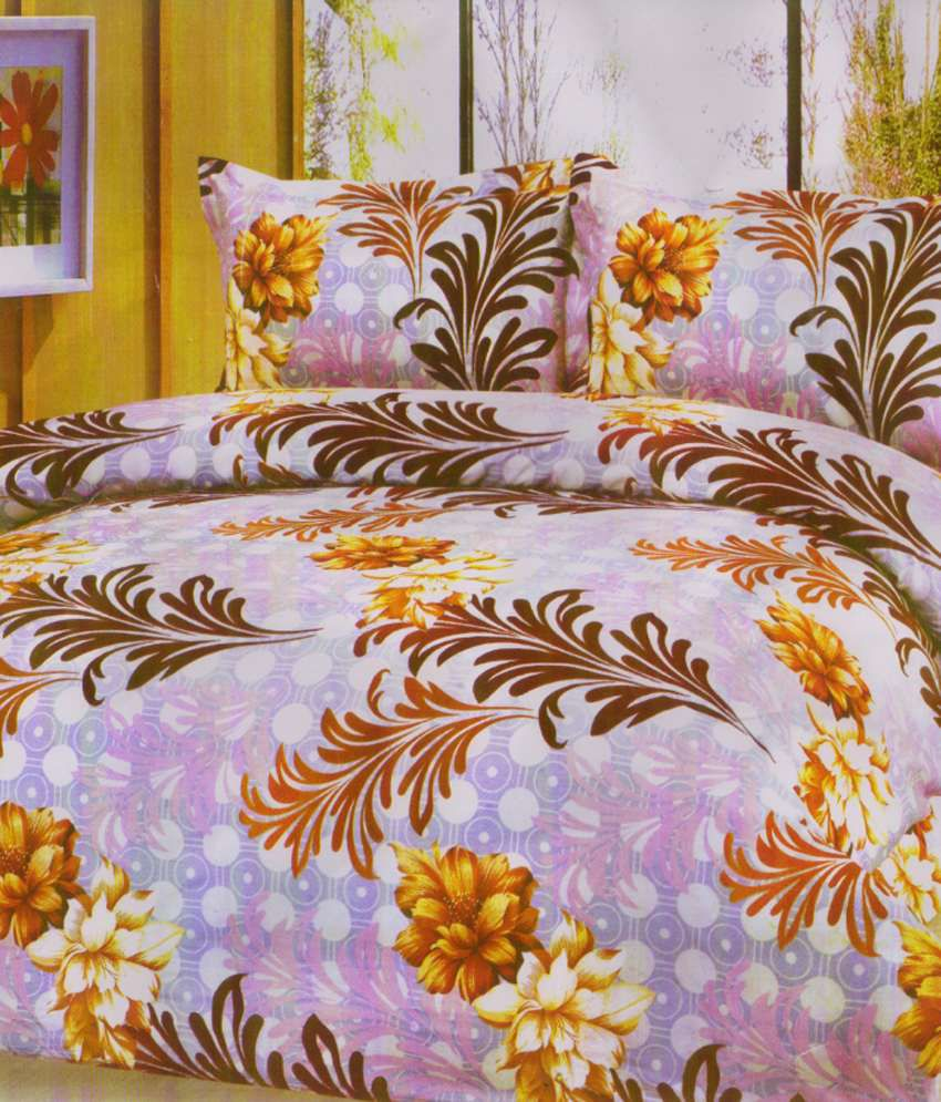K2m2 Bouquet In Brown Bed Sheet With 2 Pillow Covers