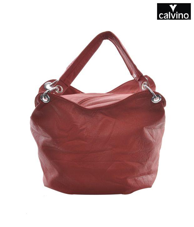 Calvino Red Round Handbag