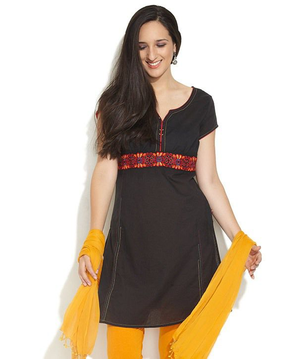 G Black Solids Cotton Medium  Kurti