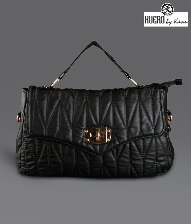 Kuero  Black Quilted Flap Sling Bag
