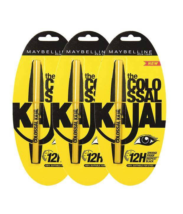 Maybelline Colossal  12H Black Kajal 0.35 gm Pack of 3