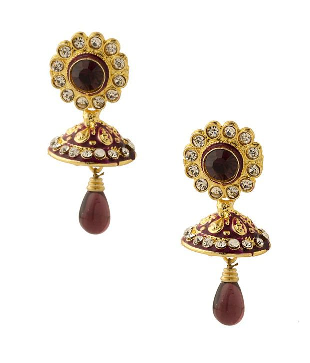 Voylla Dome Shaped Brown Earrings Bedecked With Brown Crystals