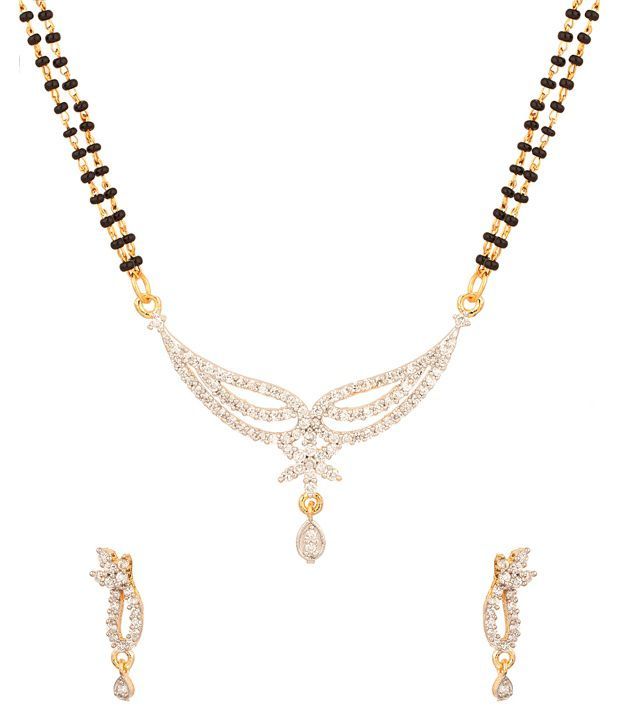Voylla Double Chain Mangalsutra With Intricate Arrangement Of CZ Stones