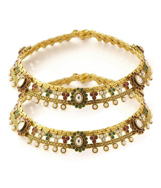 Voylla Gold Plated Anklets Studded With Pearl Beads, Cz Stones