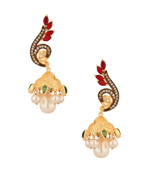 Voylla Jhumki Earrings With Faux Emerald