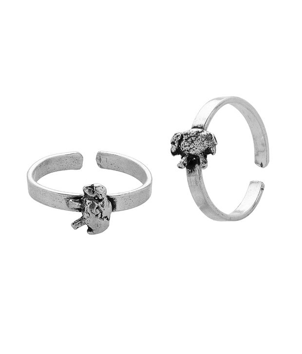 Voylla Silver Toe Ring With Sheep Motif