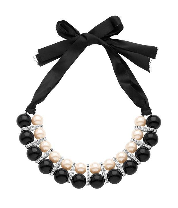 Voylla Statement Neckpiece Featuring Black Beads, Pearls