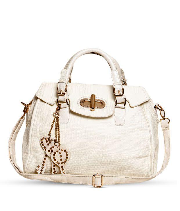 1 Bolzo Alluring White Key Chain Design Handbag