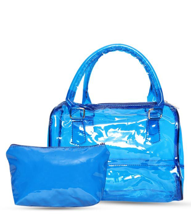 1 Bolzo Blue Glossy Finish Tote Bag & Pouch Set