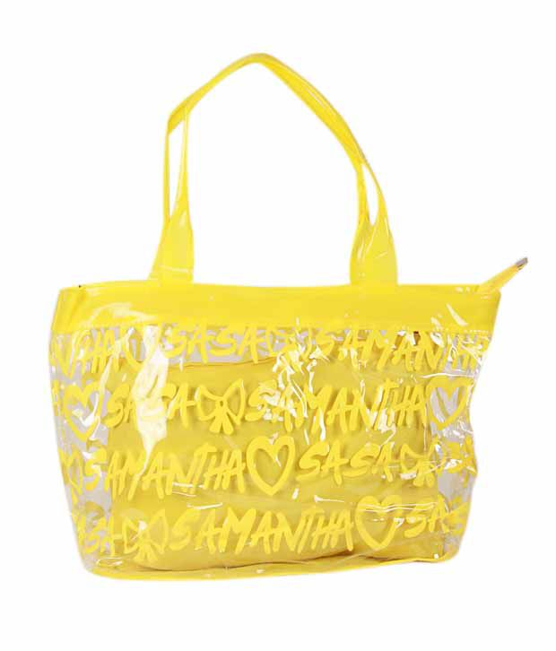 1 Bolzo Captivating Yellow Tote Bag & Pouch Set