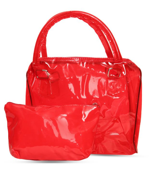1 Bolzo Red Glossy Finish Tote Bag & Pouch Set