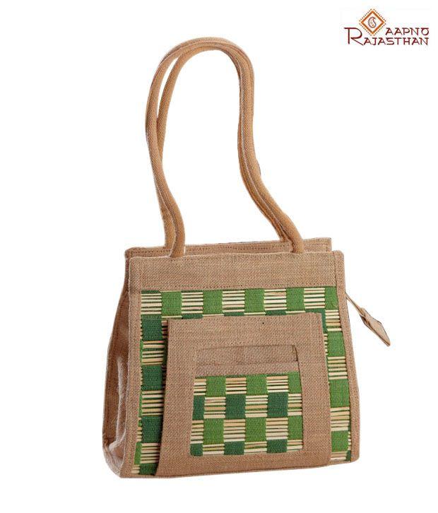 Aapno Rajasthan Green & Brown Jute Handbag