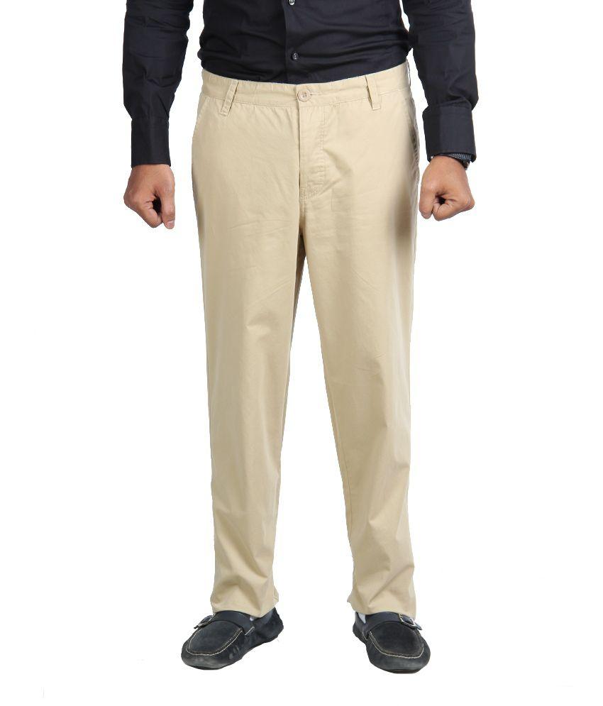 American Vintage Cotton Trouser - Regular Fit - Biege colour
