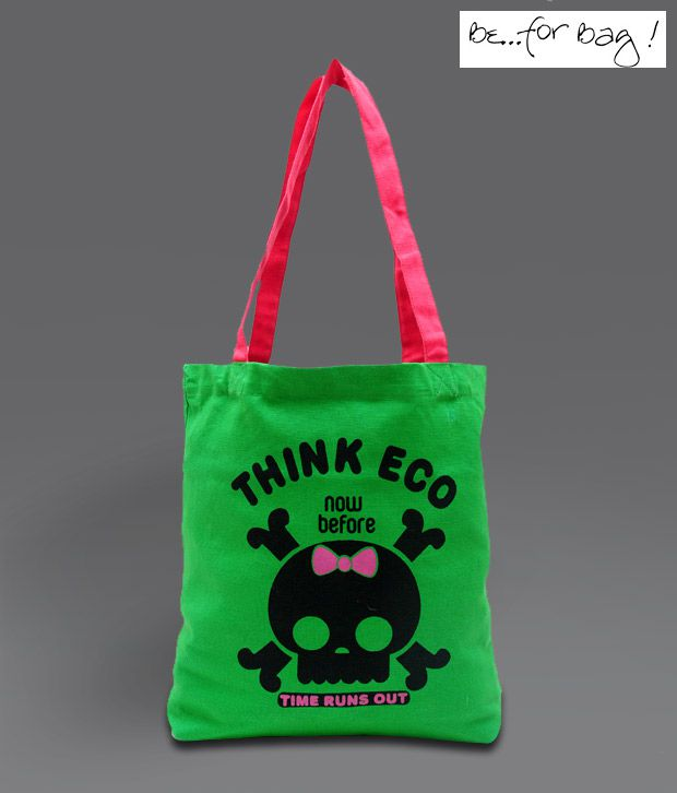 B4BAG! Green & Red Think Eco Tote Bag