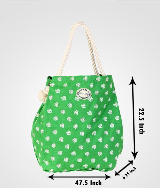 Be For Bag Green Snow Flake Print Handbag