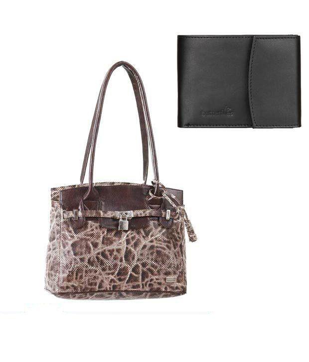 Butterflies Brown Beehive   Textured Handbag With Free  Women Wallet