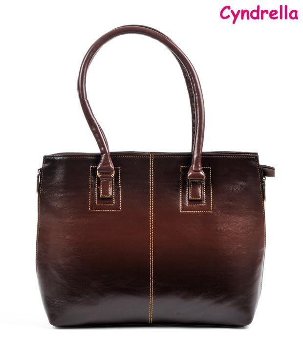 Cyndrella Brown Contrast Stitched Leather Handbag