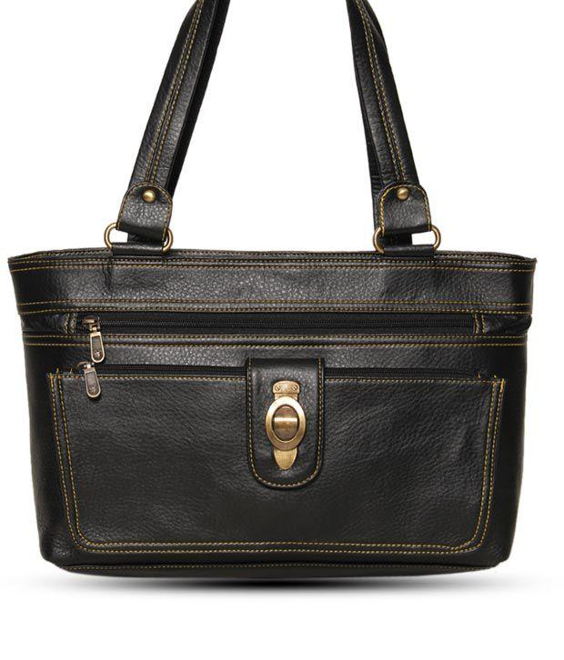 Cyndrella Exquisite Black Textured Finish Handbag