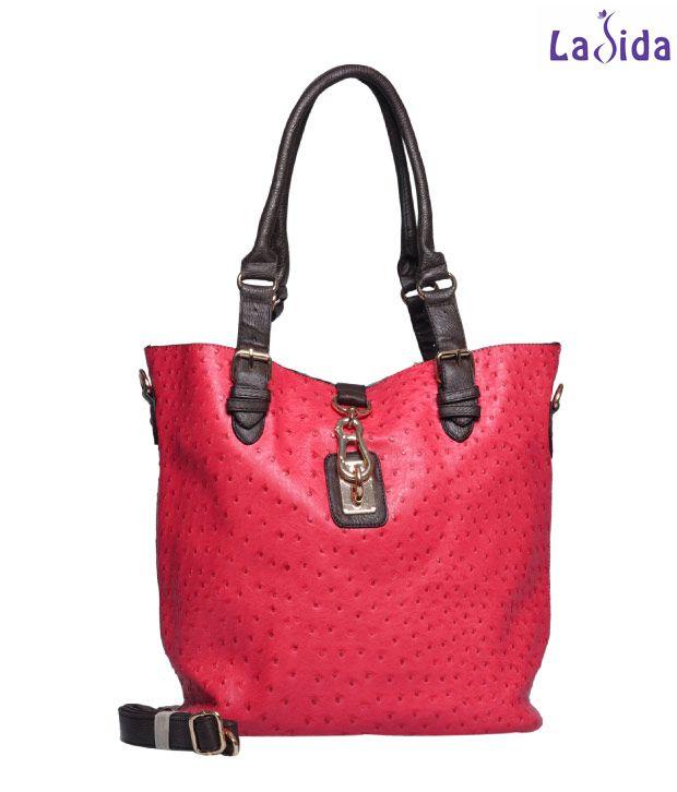 Ladida Watermelon Ostrich Print Handbag