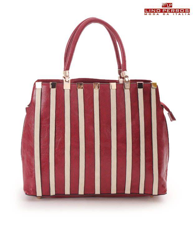 Lino Perros Pretty Red Striped Handbag