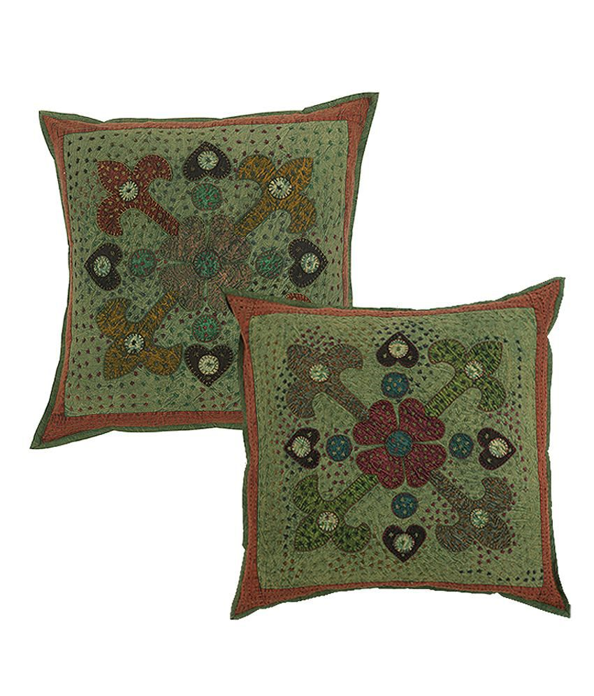 Rajrang  Patch Work With Kantha Cushion Covers - (24 X 24 Inches) (Set of 2 Pcs)