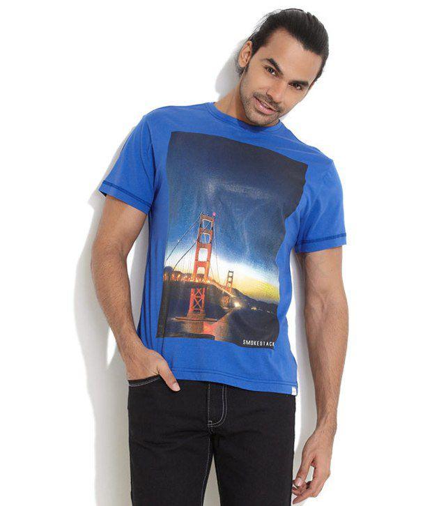 Smokestack Blue Cotton  T-Shirt