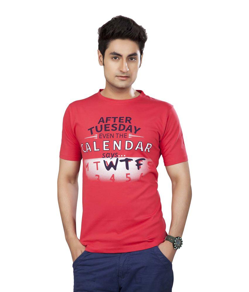 39 Orange Round Neck Printed Tshirt