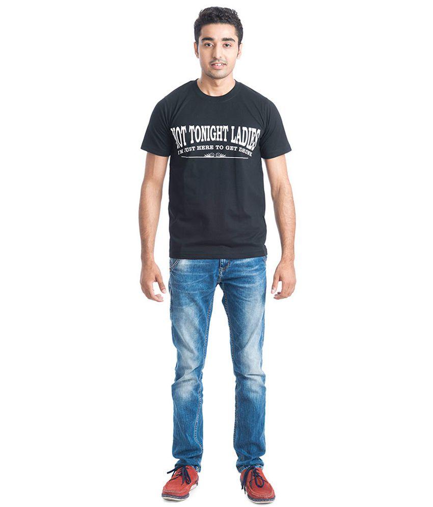 Casual Tees Black Half Cotton Round T-shirt