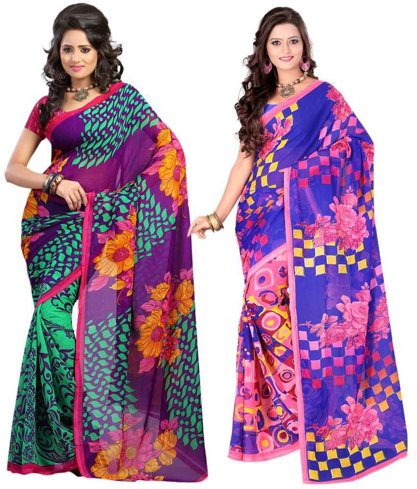 Ansu Fashion Multi Color Faux Georgette Saree