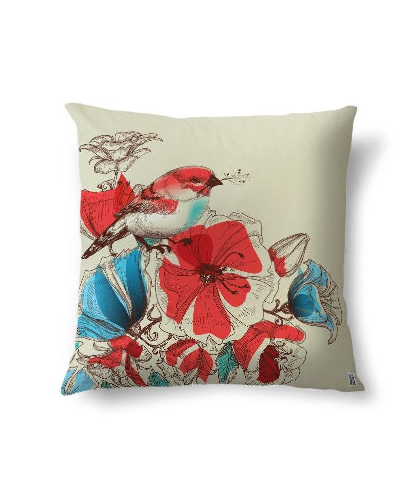 bluegape Red Bird Flower Digitally Printed Cushion Cover 1 Piece