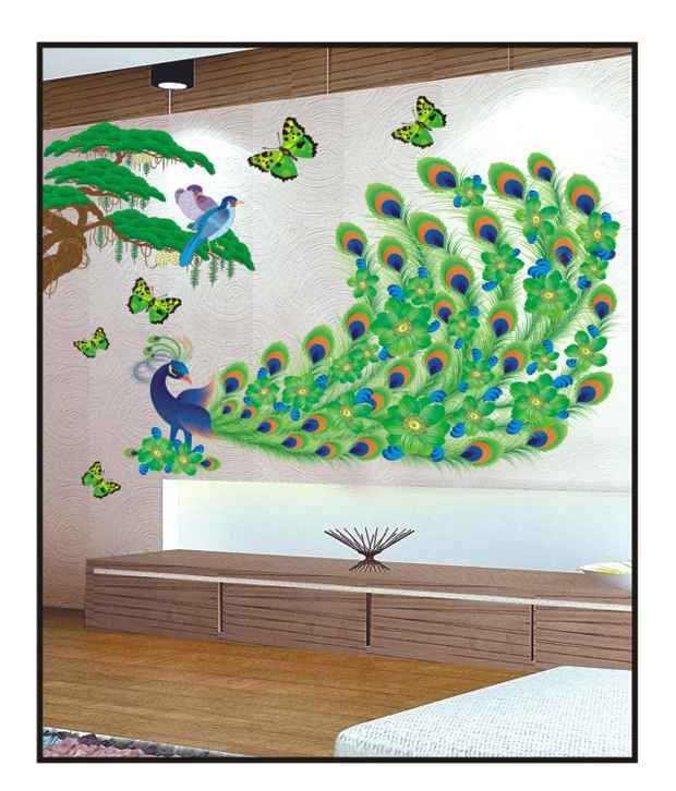 pindia multicolour 3d peacock & butterflies design wall sticker