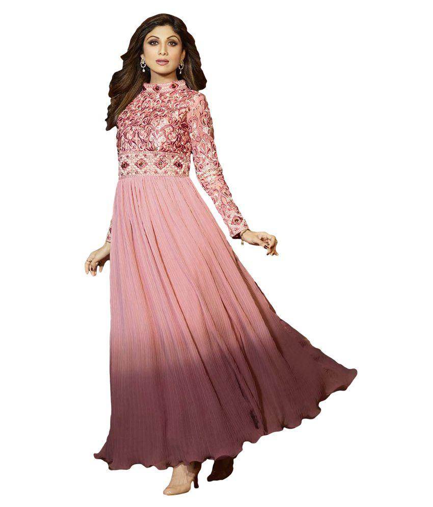 Pinkshink Pink Georgette Unstitched Dress Material