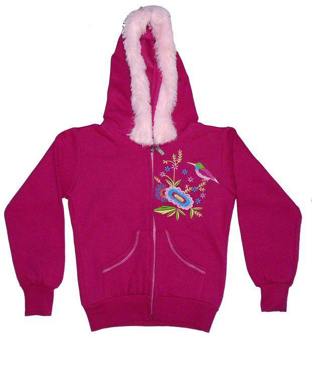Sweet Angel Full Sleeves Pink Hooded Fleeze Jacket For Kids