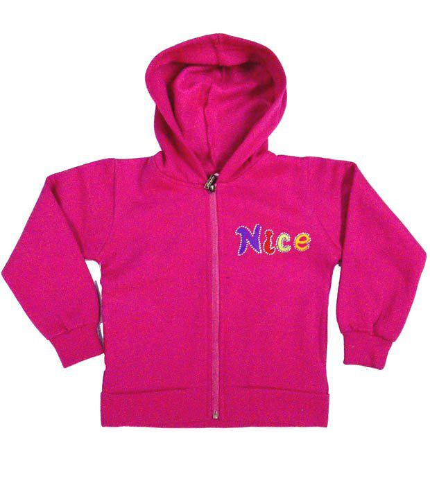 Sweet Angel Full Sleeves Pink Color Embroidered Hooded Fleeze Jacket For Kids