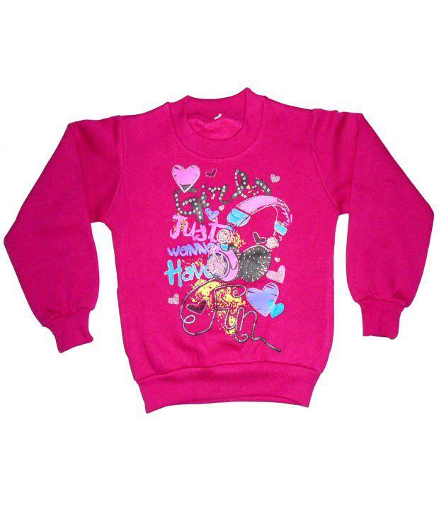 Sweet Angel Full Sleeves Pink Color Printed Sweatshirts For Kids